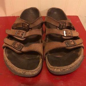 Birkenstock brown 3 strap sandals. Size 38/7-7.5